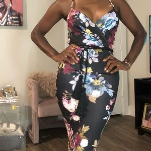 Black Maroon Floral Neoprene Stretch Pencil Dress